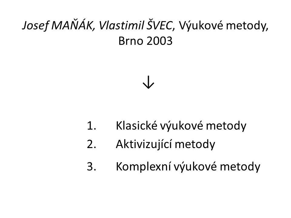 Josef MAŇÁK, Vlastimil ŠVEC, Výukové metody, Brno 2003