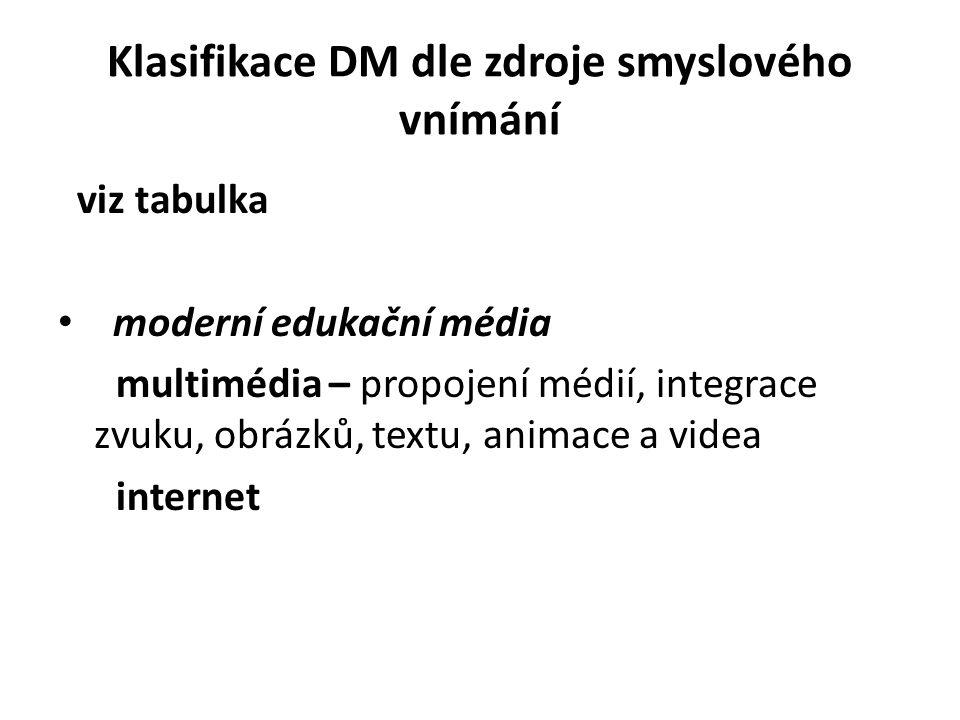 Klasifikace DM dle zdroje smyslového vnímání
