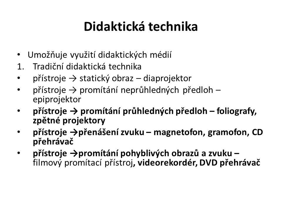 Didaktická technika Umožňuje využití didaktických médií