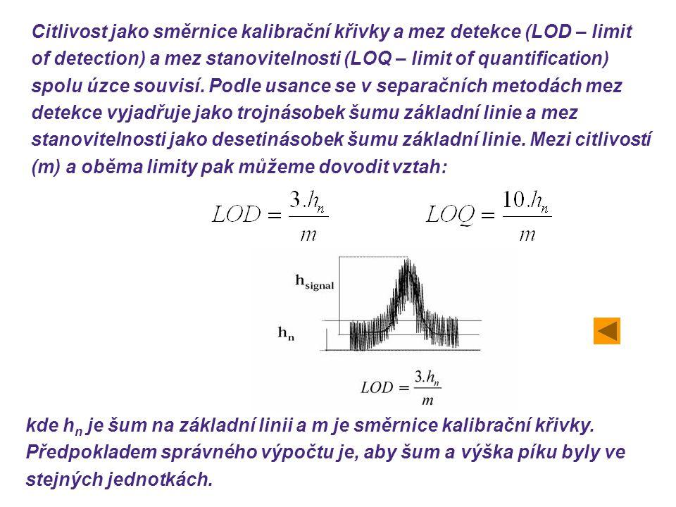 Citlivost jako směrnice kalibrační křivky a mez detekce (LOD – limit of detection) a mez stanovitelnosti (LOQ – limit of quantification) spolu úzce souvisí. Podle usance se v separačních metodách mez detekce vyjadřuje jako trojnásobek šumu základní linie a mez stanovitelnosti jako desetinásobek šumu základní linie. Mezi citlivostí (m) a oběma limity pak můžeme dovodit vztah: