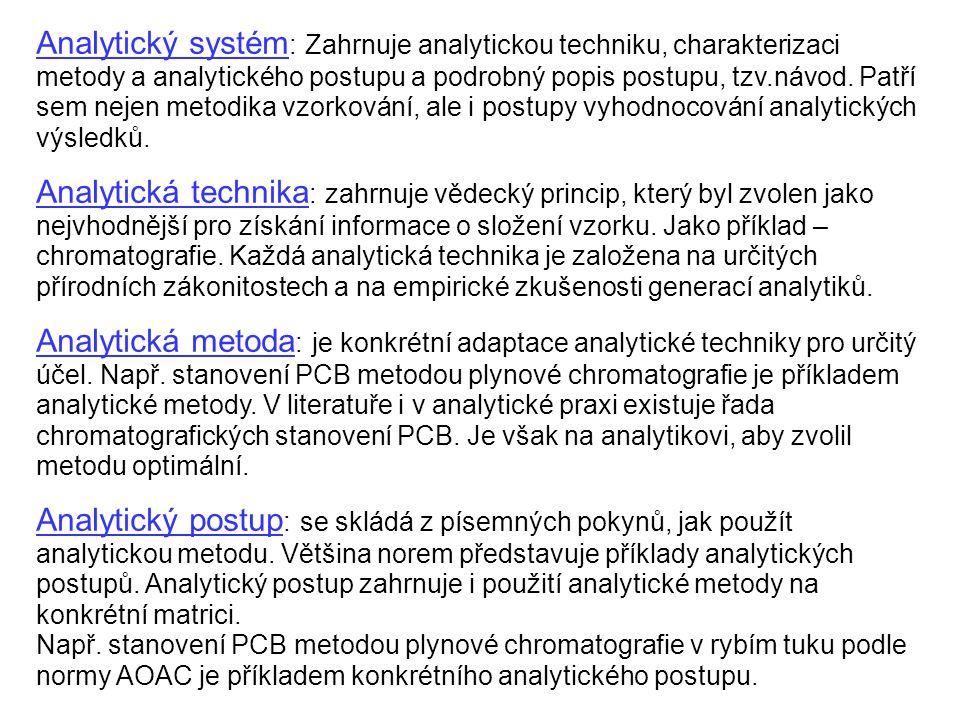 Analytický systém: Zahrnuje analytickou techniku, charakterizaci metody a analytického postupu a podrobný popis postupu, tzv.návod. Patří sem nejen metodika vzorkování, ale i postupy vyhodnocování analytických výsledků.