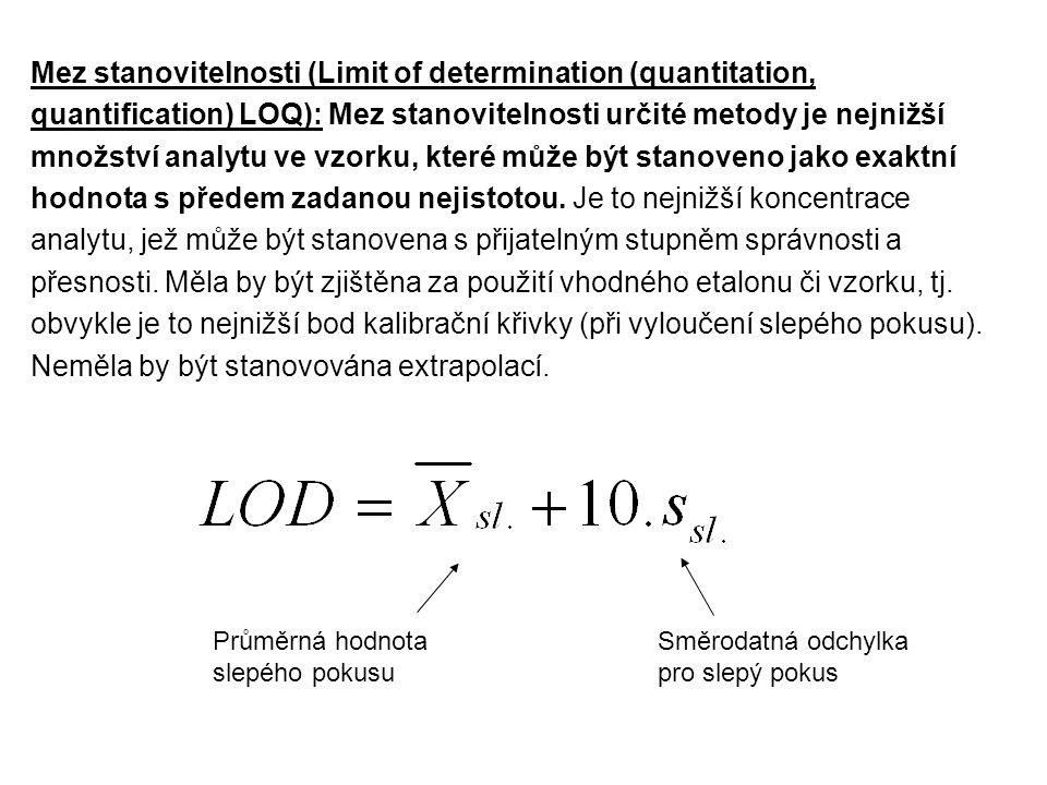 Mez stanovitelnosti (Limit of determination (quantitation, quantification) LOQ): Mez stanovitelnosti určité metody je nejnižší množství analytu ve vzorku, které může být stanoveno jako exaktní hodnota s předem zadanou nejistotou. Je to nejnižší koncentrace analytu, jež může být stanovena s přijatelným stupněm správnosti a přesnosti. Měla by být zjištěna za použití vhodného etalonu či vzorku, tj. obvykle je to nejnižší bod kalibrační křivky (při vyloučení slepého pokusu). Neměla by být stanovována extrapolací.