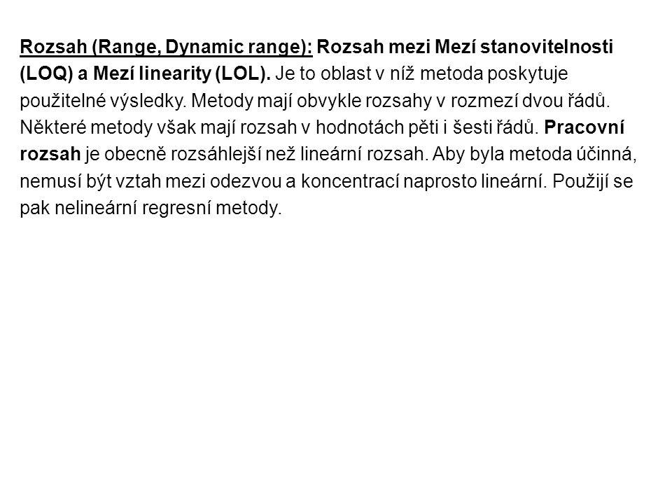 Rozsah (Range, Dynamic range): Rozsah mezi Mezí stanovitelnosti (LOQ) a Mezí linearity (LOL).