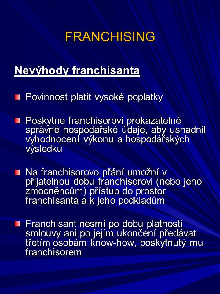 FRANCHISING Nevýhody franchisanta Povinnost platit vysoké poplatky
