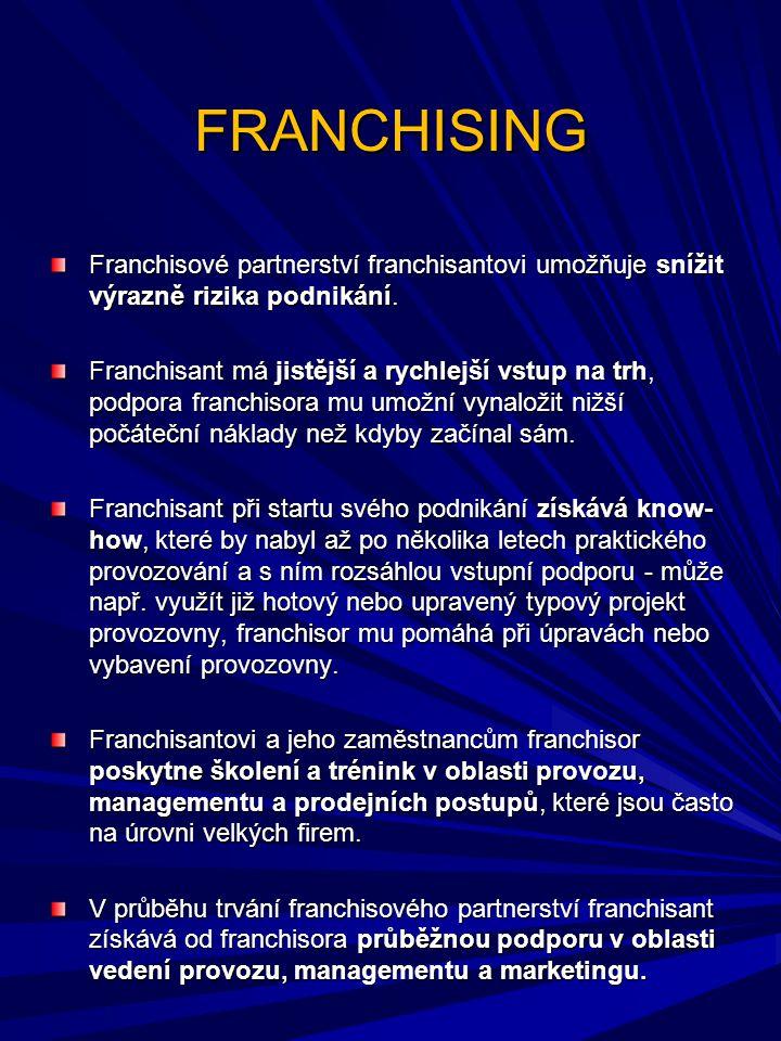 FRANCHISING Franchisové partnerství franchisantovi umožňuje snížit výrazně rizika podnikání.