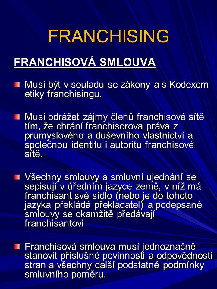 FRANCHISING FRANCHISOVÁ SMLOUVA