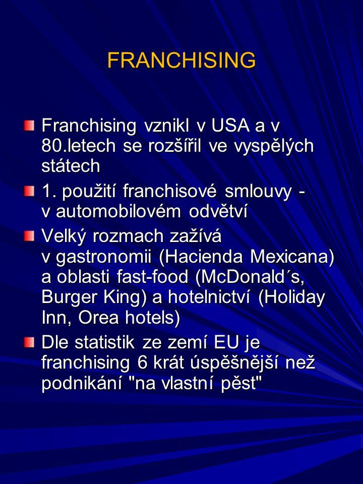 FRANCHISING Franchising vznikl v USA a v 80.letech se rozšířil ve vyspělých státech. 1. použití franchisové smlouvy - v automobilovém odvětví.
