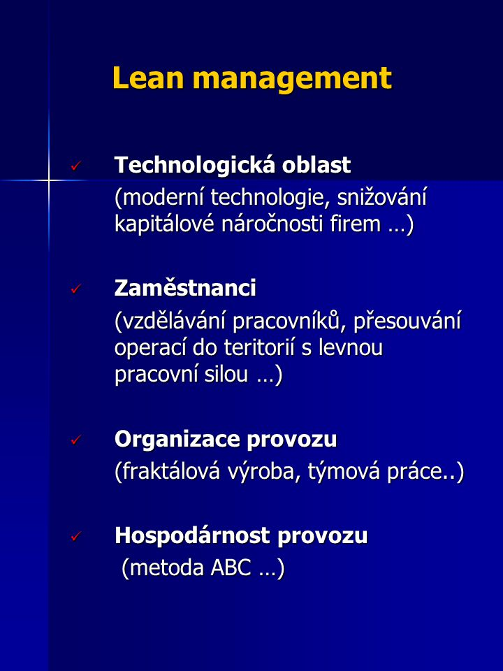 Lean management Technologická oblast