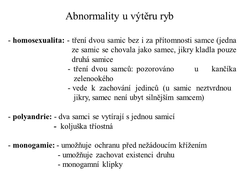 Abnormality u výtěru ryb