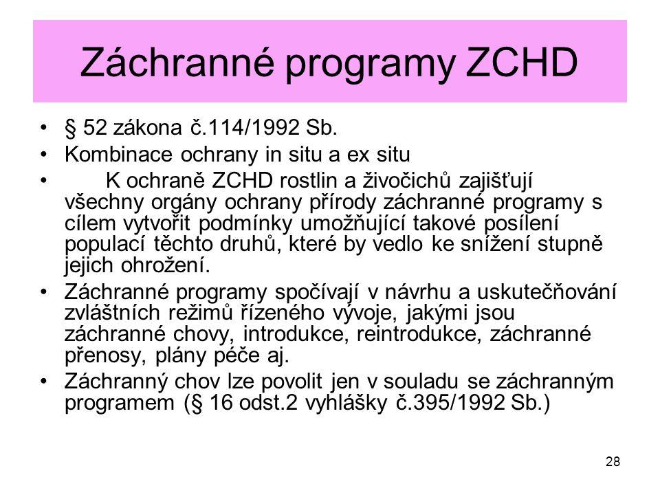 Záchranné programy ZCHD