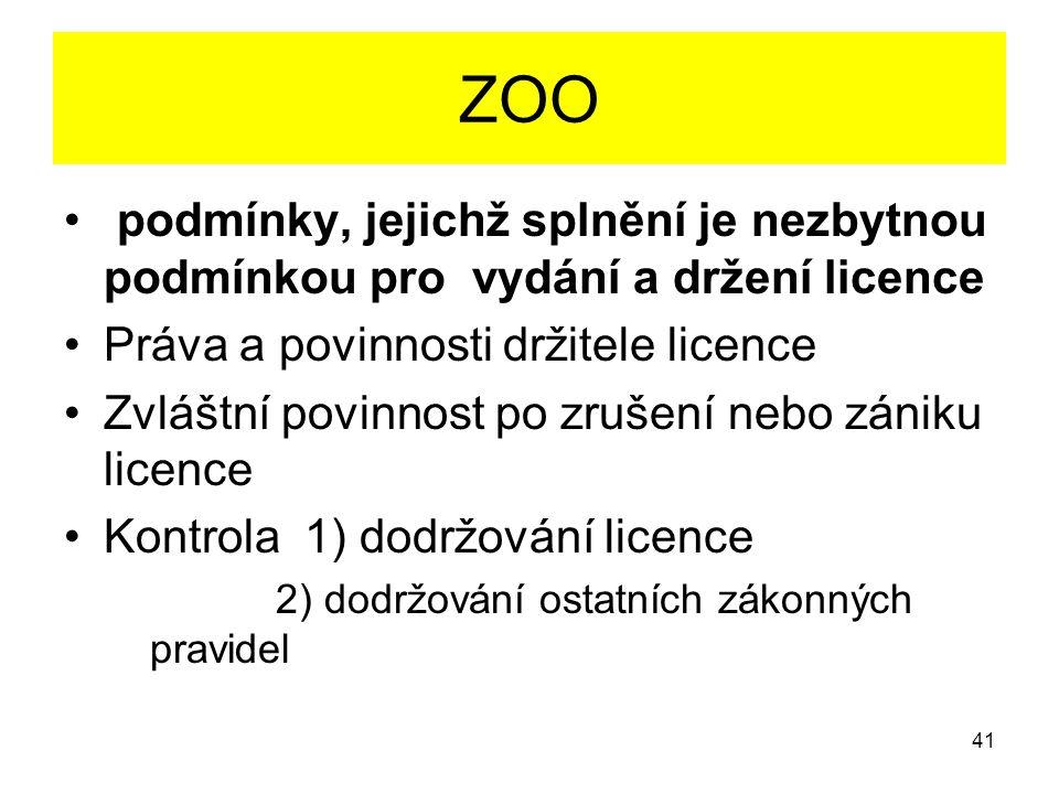 ZOO podmínky, jejichž splnění je nezbytnou podmínkou pro vydání a držení licence. Práva a povinnosti držitele licence.