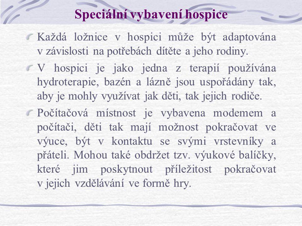 Speciální vybavení hospice