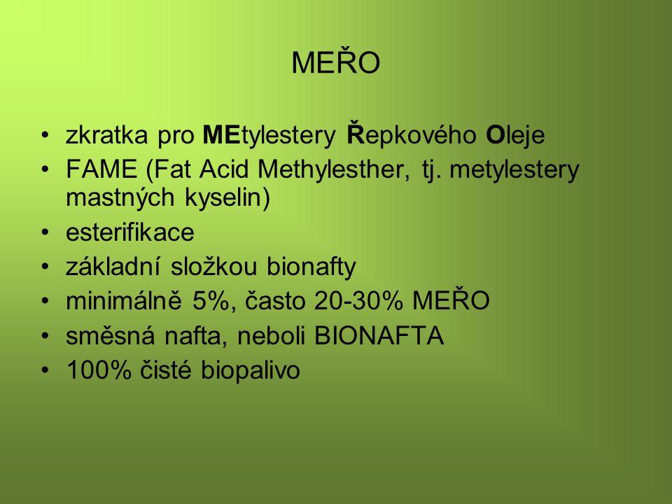MEŘO zkratka pro MEtylestery Řepkového Oleje