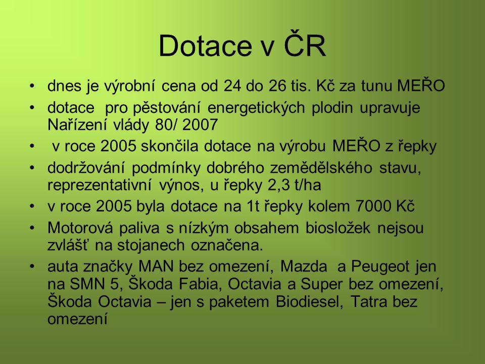 Dotace v ČR dnes je výrobní cena od 24 do 26 tis. Kč za tunu MEŘO
