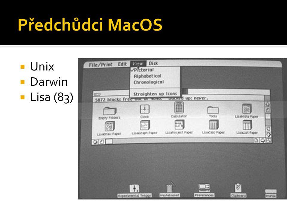 Předchůdci MacOS Unix Darwin Lisa (83)