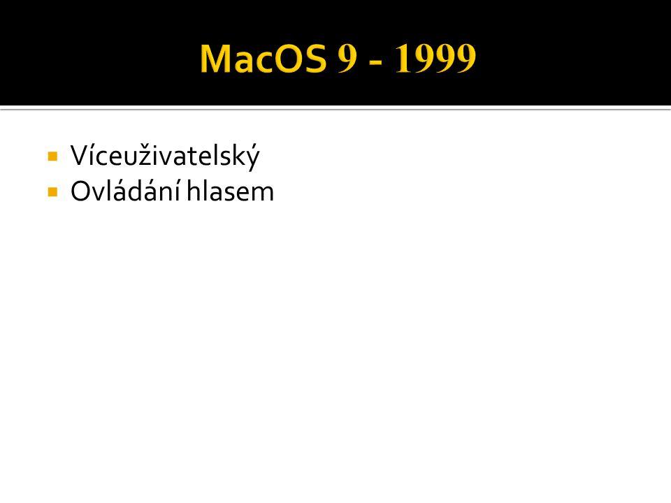 MacOS 9 - 1999 Víceuživatelský Ovládání hlasem