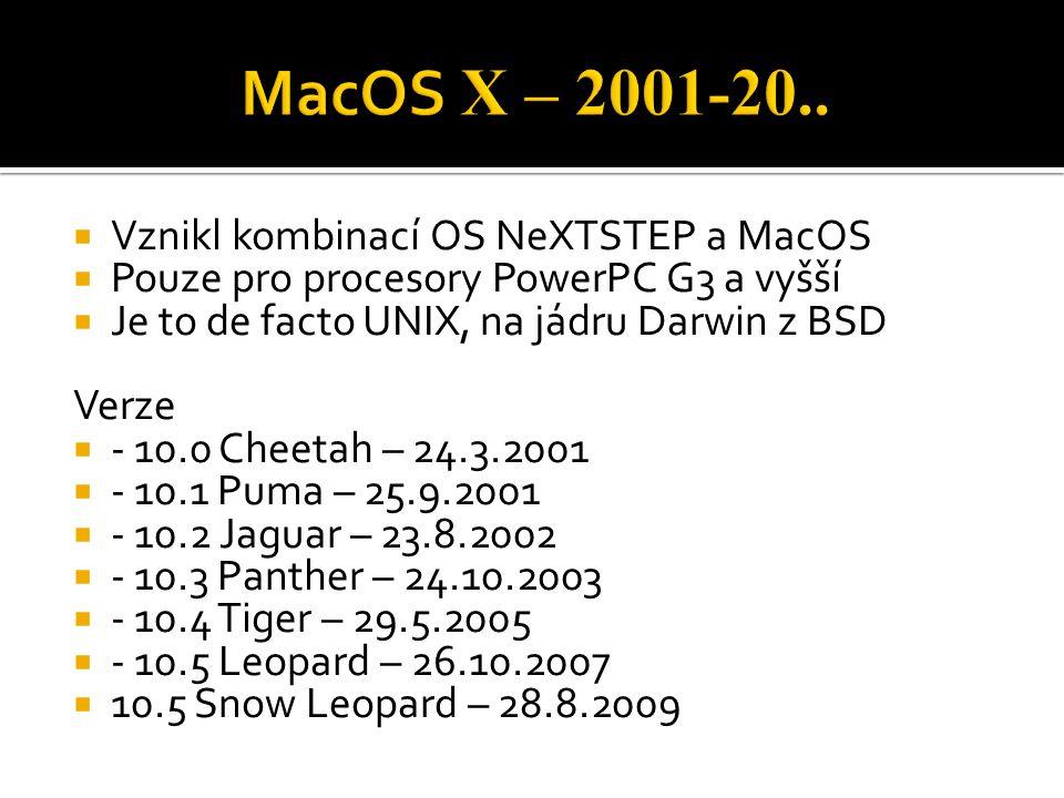 MacOS X – 2001-20.. Vznikl kombinací OS NeXTSTEP a MacOS