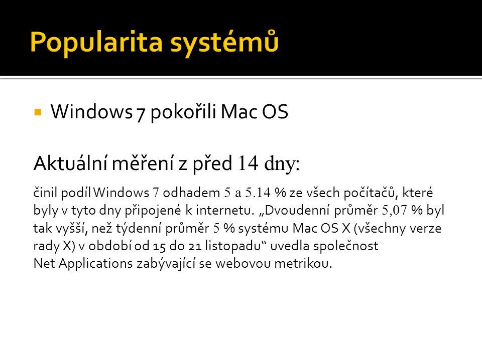 Popularita systémů Windows 7 pokořili Mac OS