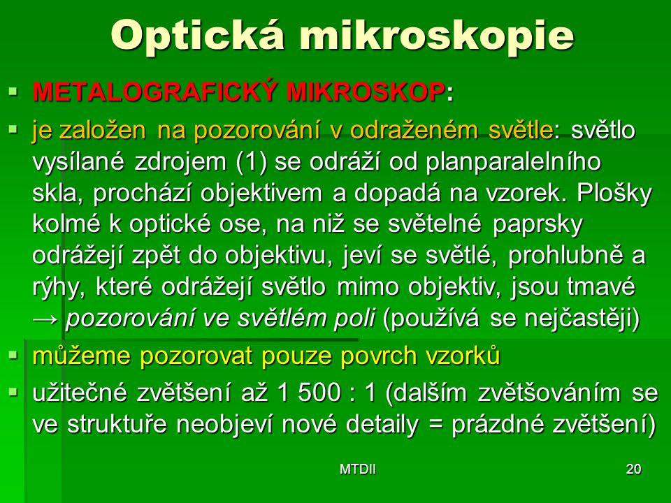 Optická mikroskopie METALOGRAFICKÝ MIKROSKOP: