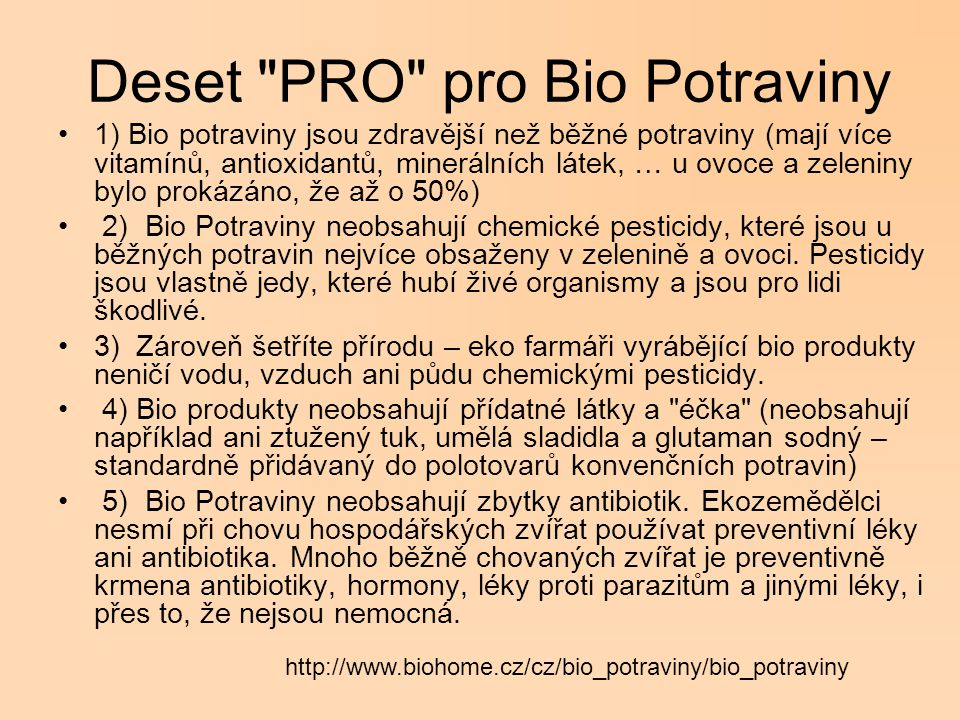 Deset PRO pro Bio Potraviny
