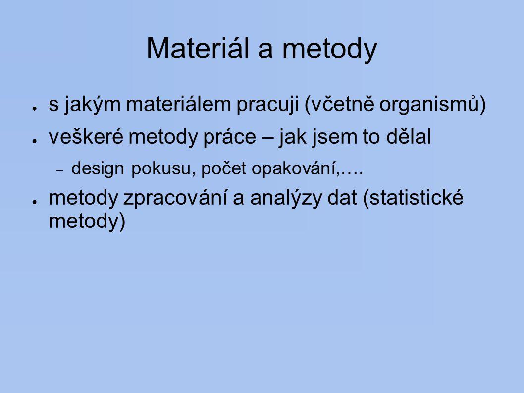 Materiál a metody s jakým materiálem pracuji (včetně organismů)