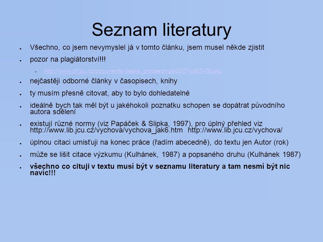 Seznam literatury Všechno, co jsem nevymyslel já v tomto článku, jsem musel někde zjistit. pozor na plagiátorství!!!