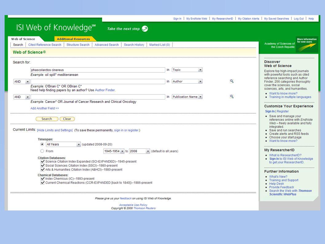 elektronické databáze a) nalezení pramene