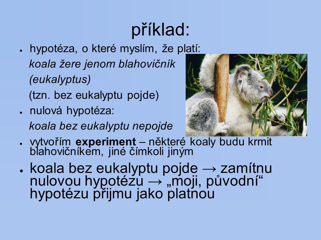 příklad: hypotéza, o které myslím, že platí: koala žere jenom blahovičník. (eukalyptus) (tzn. bez eukalyptu pojde)