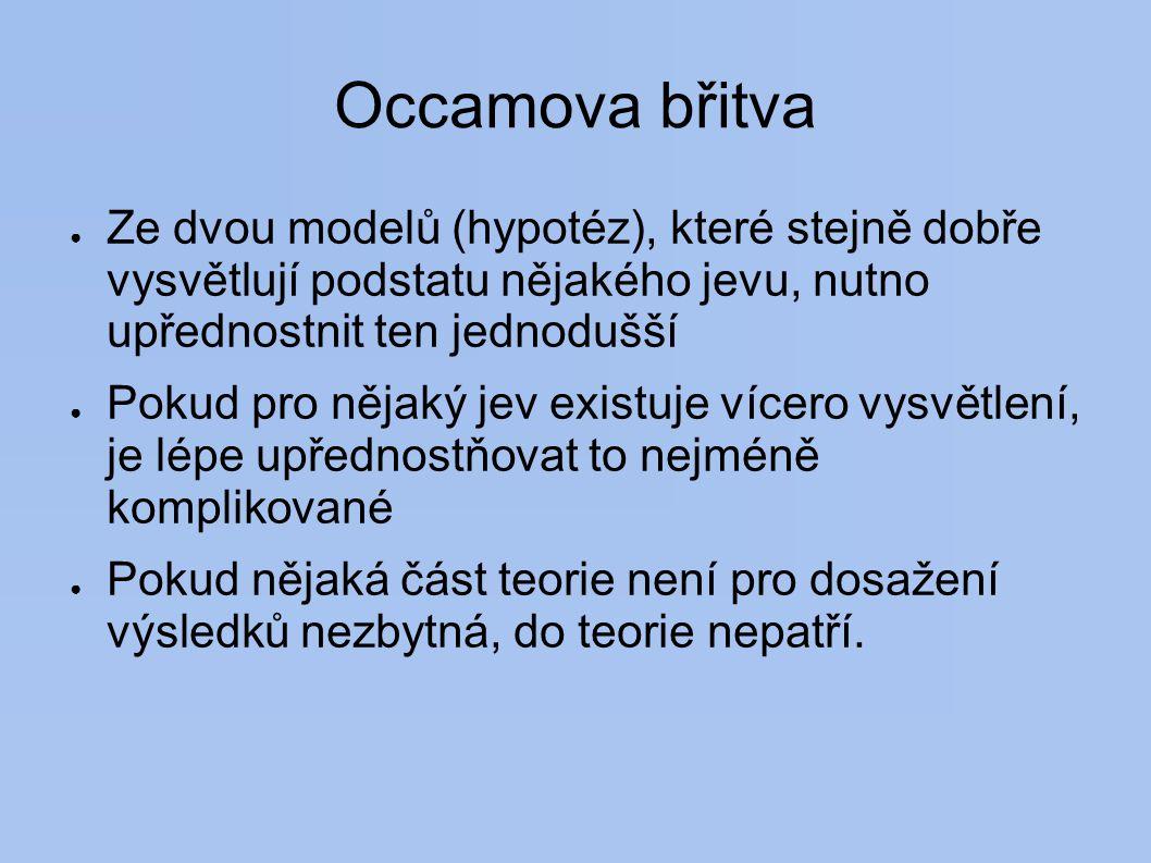 Occamova břitva Ze dvou modelů (hypotéz), které stejně dobře vysvětlují podstatu nějakého jevu, nutno upřednostnit ten jednodušší.