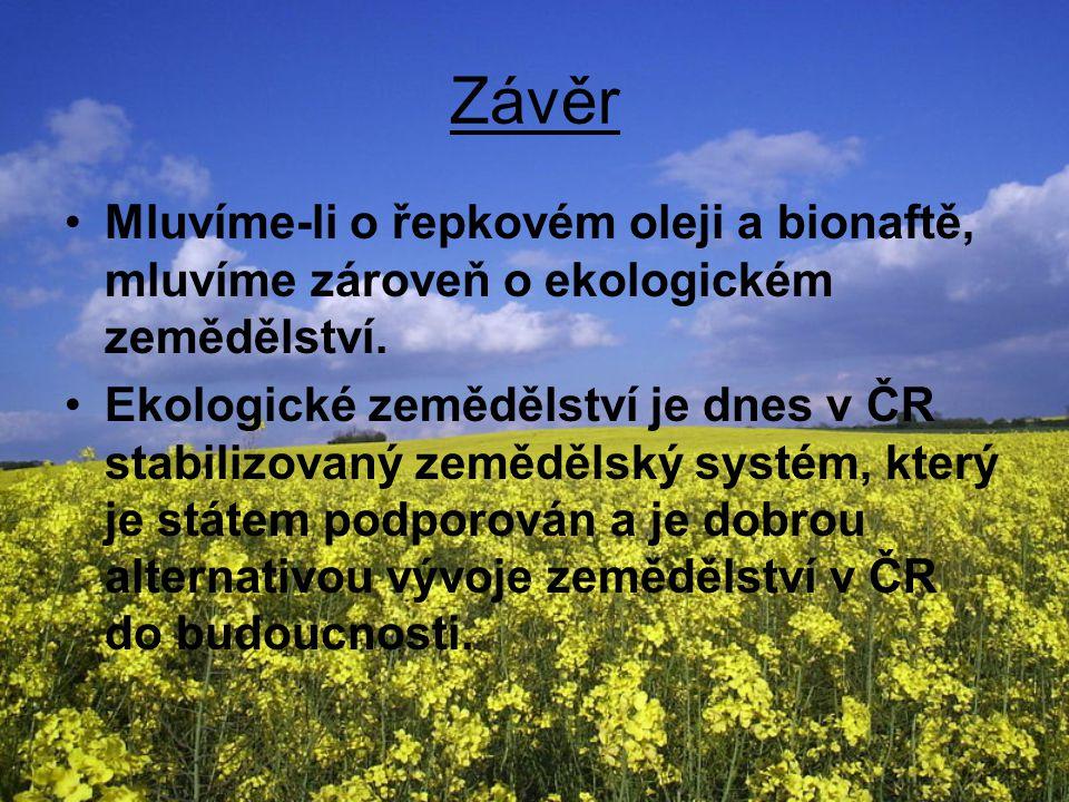 Závěr Mluvíme-li o řepkovém oleji a bionaftě, mluvíme zároveň o ekologickém zemědělství.