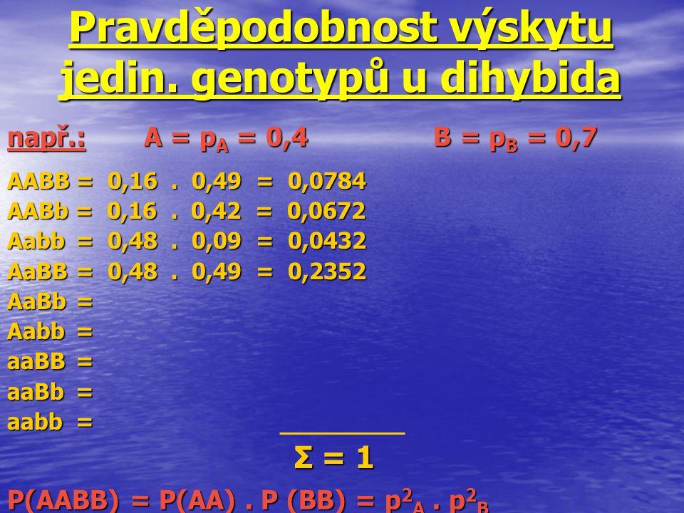 Pravděpodobnost výskytu jedin. genotypů u dihybida