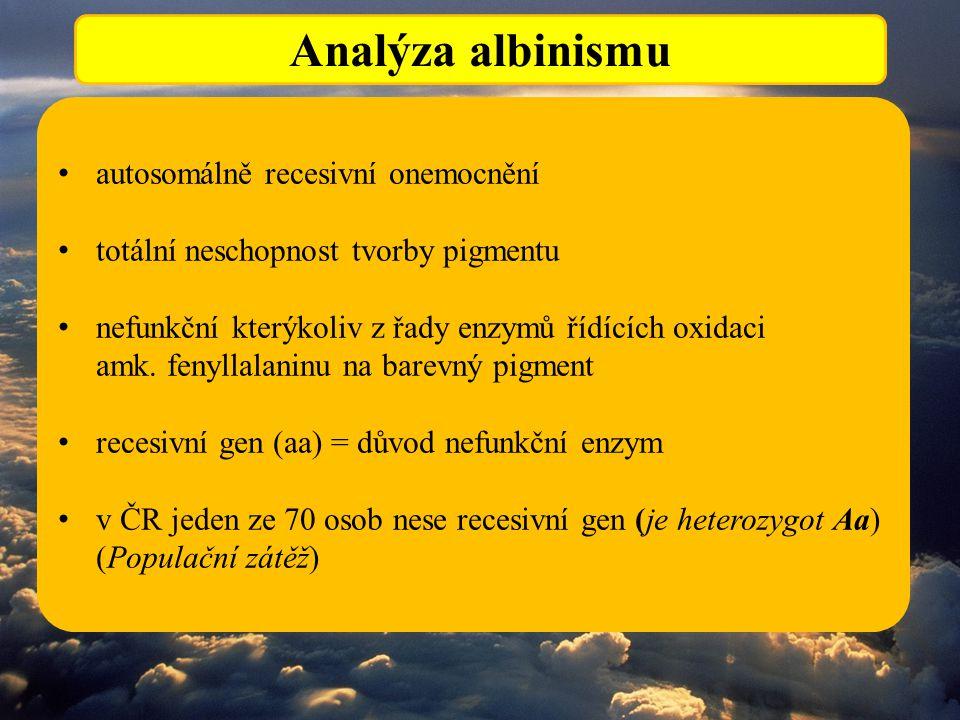 Analýza albinismu autosomálně recesivní onemocnění