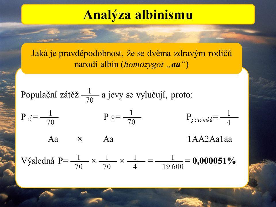 """Analýza albinismu Jaká je pravděpodobnost, že se dvěma zdravým rodičů narodí albín (homozygot """"aa )"""