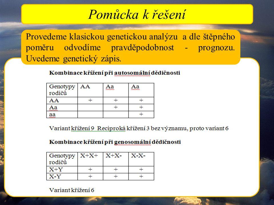 Pomůcka k řešení Provedeme klasickou genetickou analýzu a dle štěpného poměru odvodíme pravděpodobnost - prognozu.