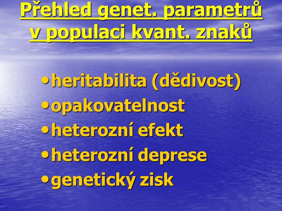 Přehled genet. parametrů v populaci kvant. znaků