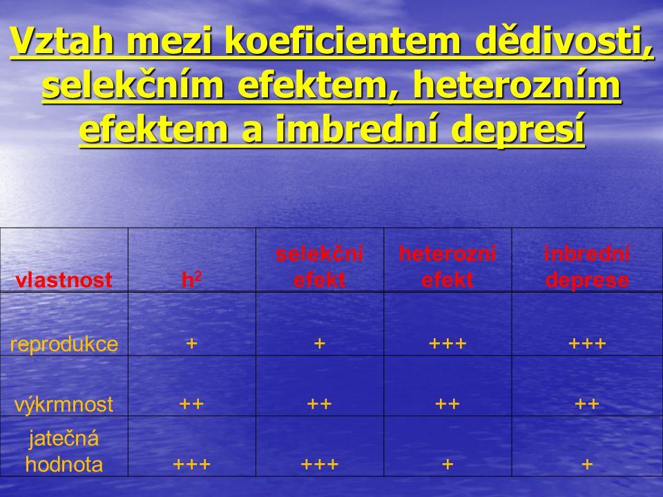 Vztah mezi koeficientem dědivosti, selekčním efektem, heterozním efektem a imbrední depresí