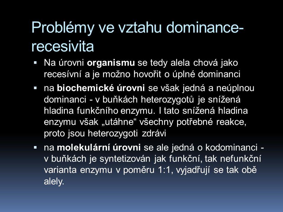 Problémy ve vztahu dominance-recesivita