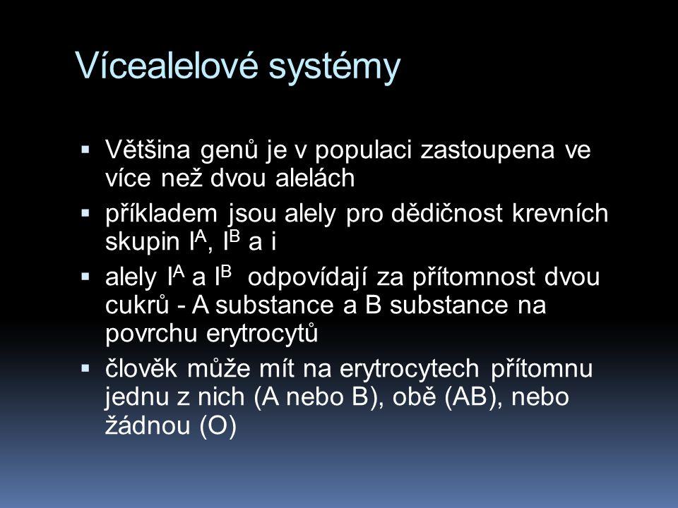 Vícealelové systémy Většina genů je v populaci zastoupena ve více než dvou alelách. příkladem jsou alely pro dědičnost krevních skupin IA, IB a i.