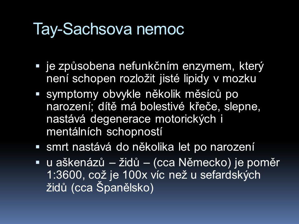 Tay-Sachsova nemoc je způsobena nefunkčním enzymem, který není schopen rozložit jisté lipidy v mozku.