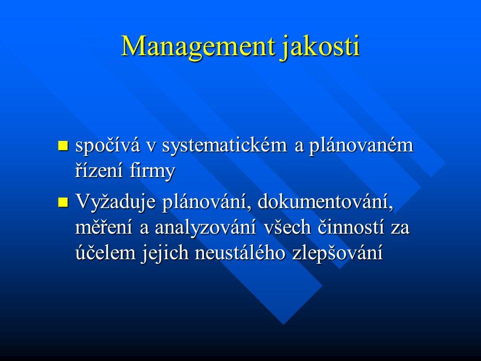 Management jakosti spočívá v systematickém a plánovaném řízení firmy