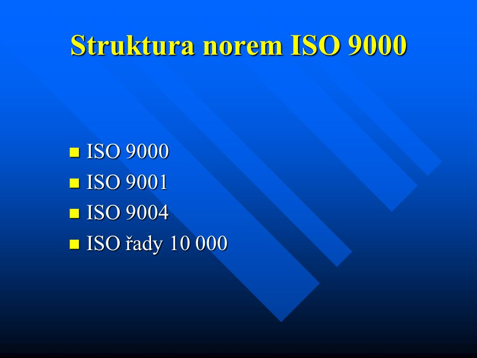 Struktura norem ISO 9000 ISO 9000 ISO 9001 ISO 9004 ISO řady 10 000
