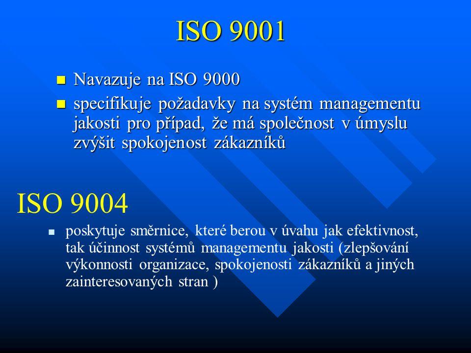 ISO 9001 Navazuje na ISO 9000.
