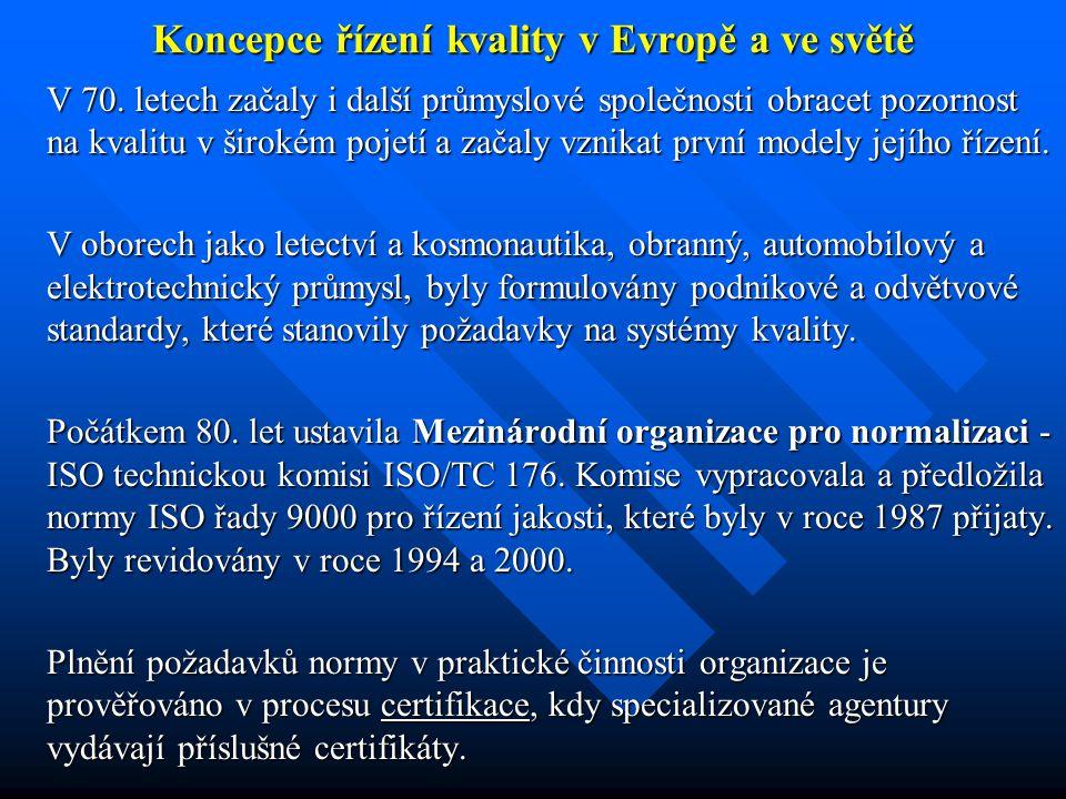 Koncepce řízení kvality v Evropě a ve světě