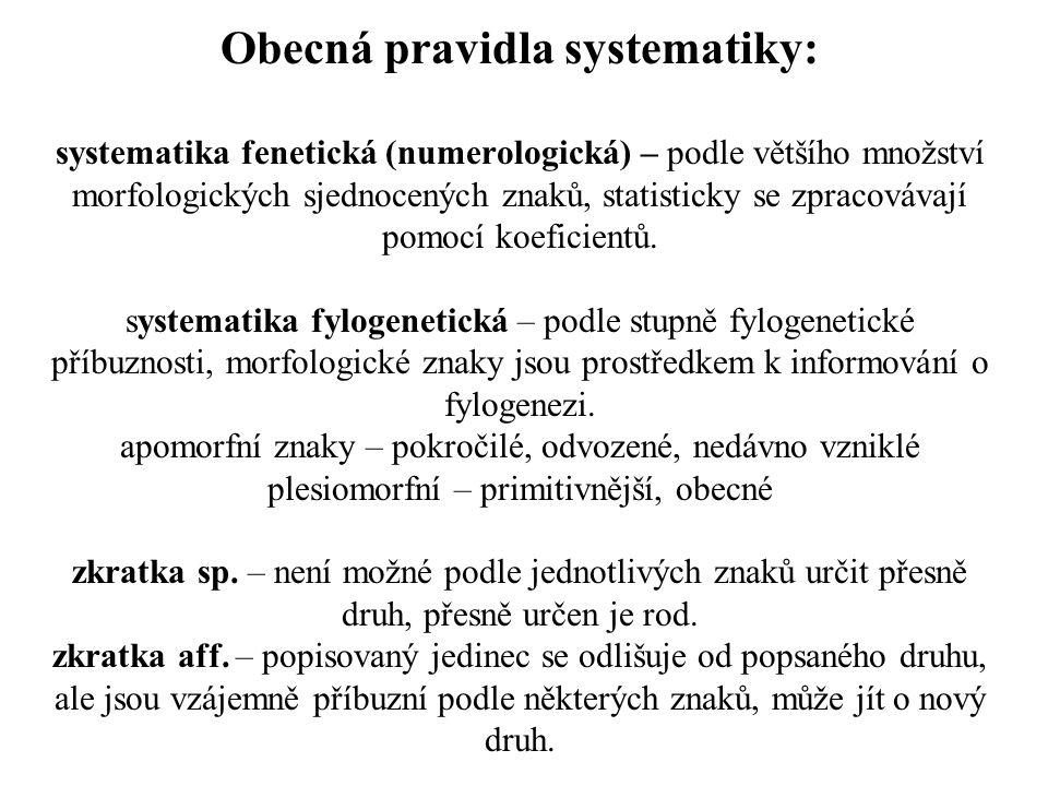 Obecná pravidla systematiky: systematika fenetická (numerologická) – podle většího množství morfologických sjednocených znaků, statisticky se zpracovávají pomocí koeficientů.