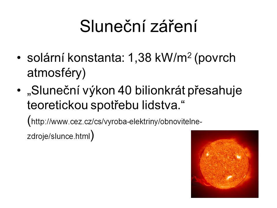 Sluneční záření solární konstanta: 1,38 kW/m2 (povrch atmosféry)