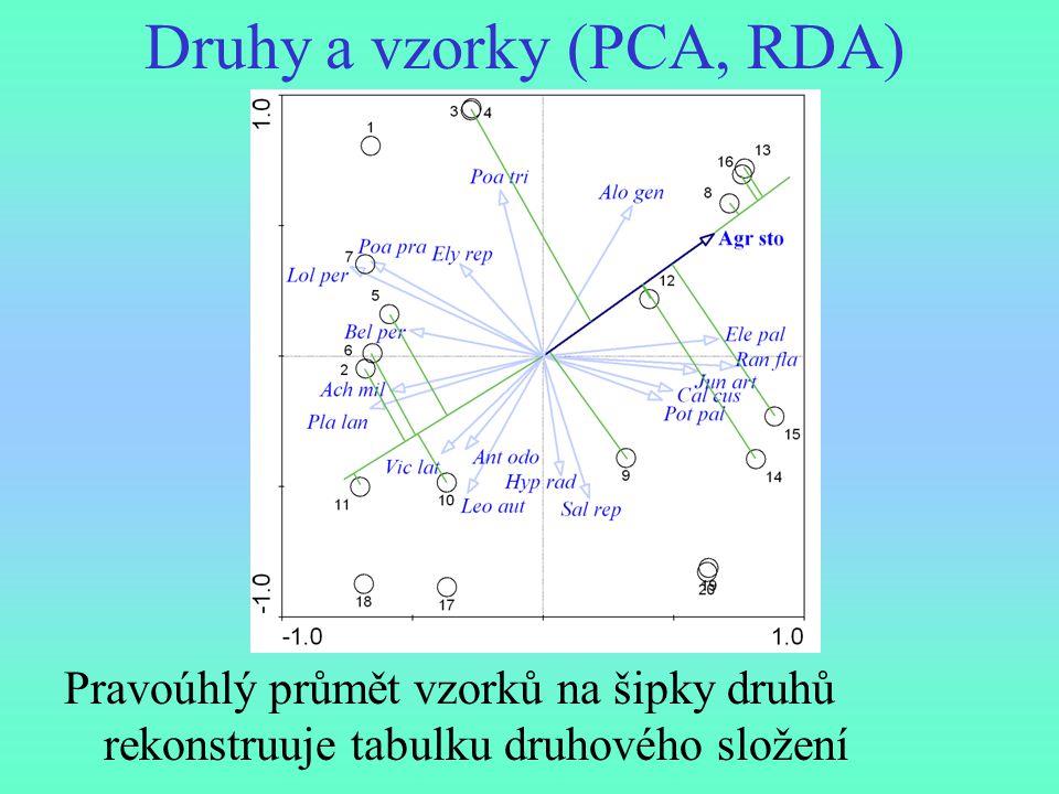 Druhy a vzorky (PCA, RDA)
