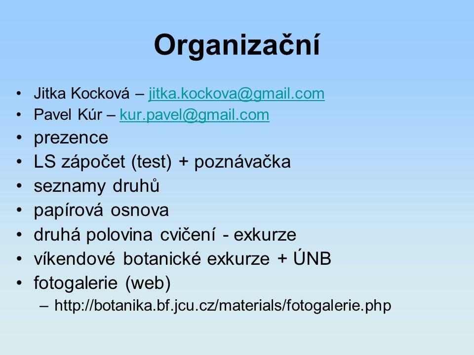 Organizační prezence LS zápočet (test) + poznávačka seznamy druhů