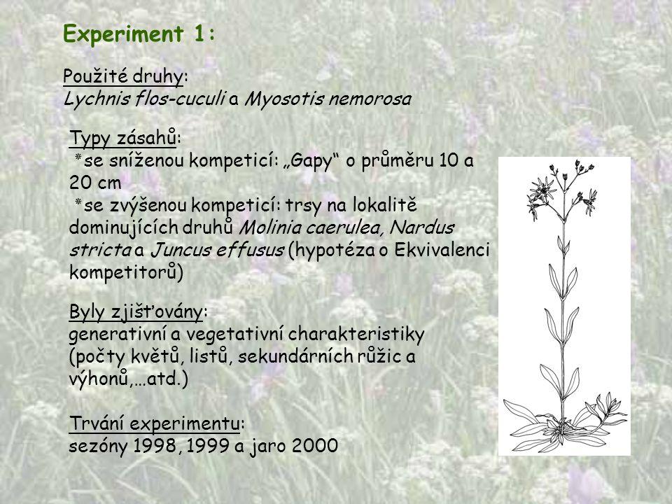 Experiment 1: Použité druhy: Lychnis flos-cuculi a Myosotis nemorosa