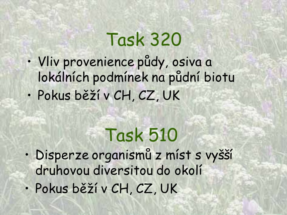 Task 320 Vliv provenience půdy, osiva a lokálních podmínek na půdní biotu. Pokus běží v CH, CZ, UK.