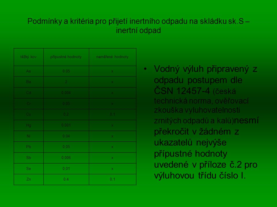 Podmínky a kritéria pro přijetí inertního odpadu na skládku sk
